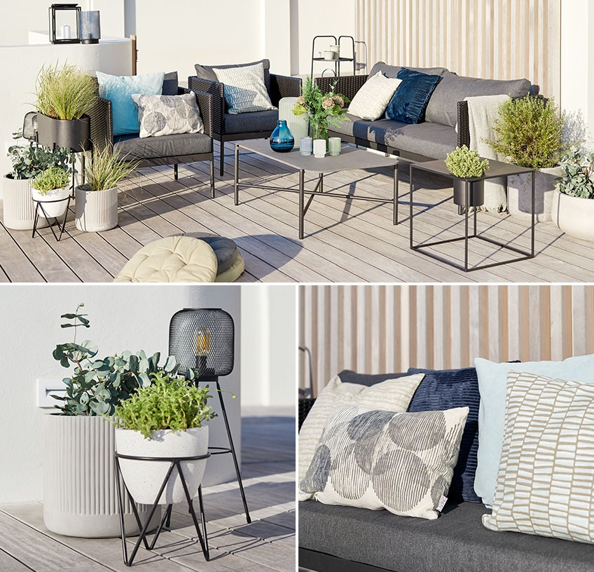 Lounge set with planters, battery lamp, garden lanterns and cushions