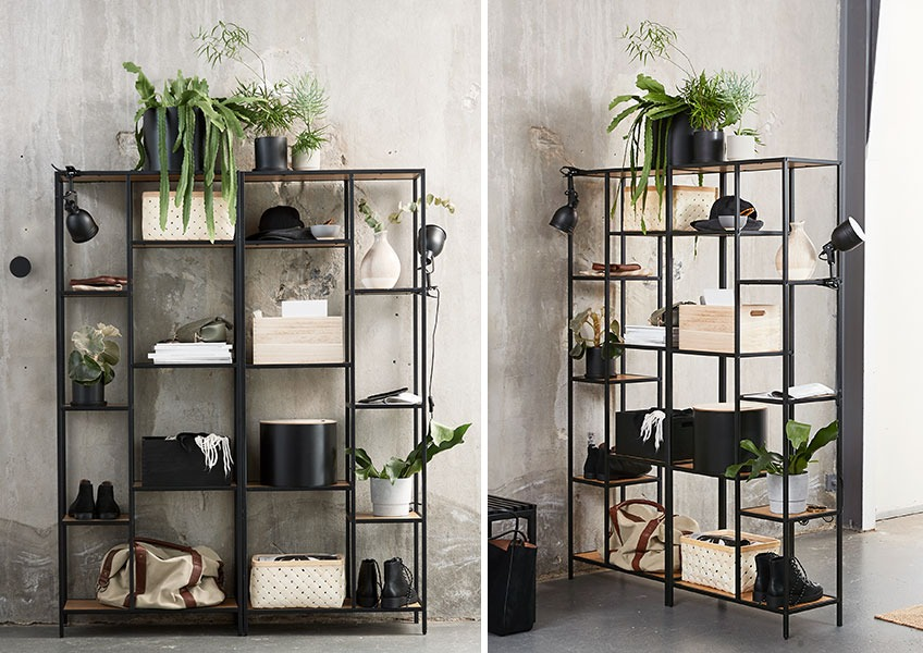 Shelving units with different storage solutions such as baskets and buckets