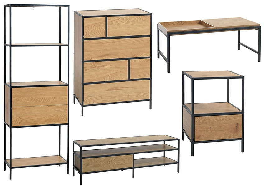 A bookcase, chest of drawers, a coffee table, a tv stand and a bedside table in oak veneer and black powder coated metal