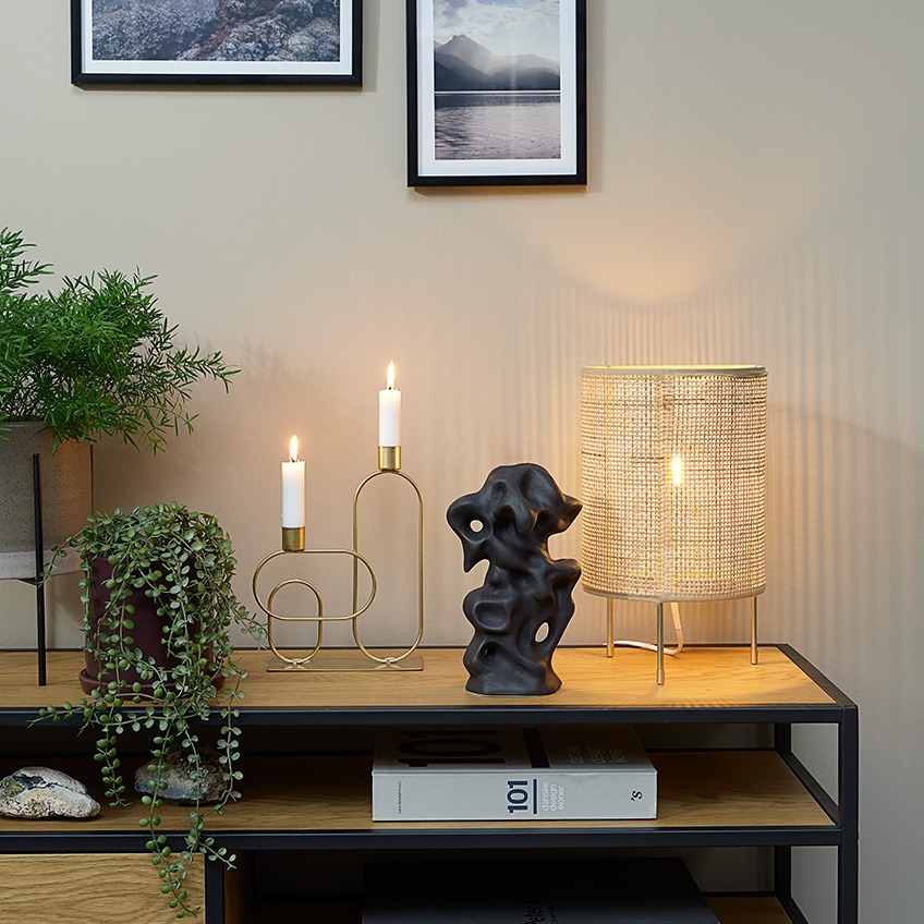 Plant pots, artificial plants, candlestick, ornament and table lamp on top of a TV stand